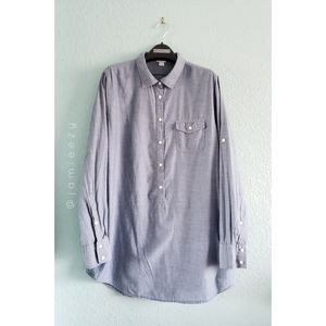 J. Crew Factory   Chambray Popover Long Tunic Top